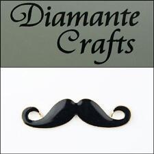 3D Moustache Gold Coloured Alloy Black Enamel Decoden Kawaii Cabochon 2013HZ