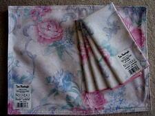 TARA HANDCRAFTS 8 Pc.Set Pink Roses NO IRON Placemats & Napkins - NEW w/TAGS