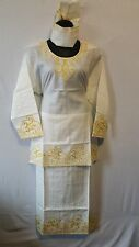 Women Clothing Traditional Dashiki African Skirt Set Style#70 Off White One Size