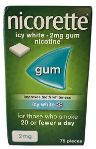 NICORETTE ICY WHITE 2MG GUM NICOTINE 75 PIECES STOP SMOKING AID 🚭🚬
