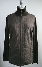 BOGNER dark brown quilted shell and wool knit zip front jacket size 12
