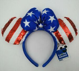 Disney Park Minnie Mouse Ears Mickey Cos USA American Flag Sequined Bow Headband