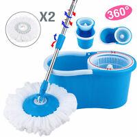Deluxe Stainless Steel 360°Spin Mop&Bucket Set Rotating Magic Floor Mop 2* heads