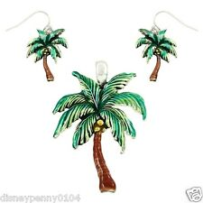 PALM TREE Pendant & Matching Pierced Earrings-Tropical Green Pendant 2 1/2""