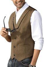 PJ PAUL JONES Mens Herringbone Tweed Suit Vest Lapel Collar Wool Blend Waistcoat