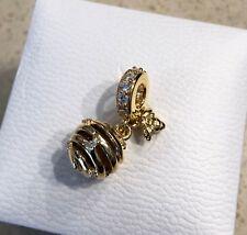 Pandora 18k Sweet As Honey Tiger Eye & CZ Charm #767044CZ +Gift Pouch+Packaging