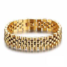 Herren Edelstahl Armband Gold Panzerkette Königskette Schmuck Bracelet Geschenk