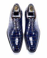 Handmade Men's Genuine Blue Leather Crocodile Print Oxford Lace Up Dress Shoes