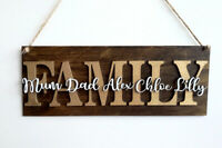 Personalised Wooden Family Plaque Names Gift Wall Door Home Decor