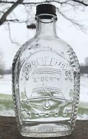 "Vintage Clear Glass Log Cabin Syrup 8 1/2"" Liberty 1776 Bottle With Lid #233"