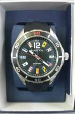NEW NAUTICA MEN'S CLASSIC BLACK STAINLESS STEEL SILICONE BAND WATCH NAPNSI801
