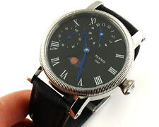 Parnis 43mm Stainless steel Luxury Black Dial GMT Hand Winding mens Watch PA-10