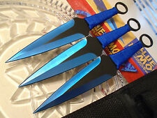 "Triple Blue Demon Titanium Dual Edge Kunai Throwing Knife/Knives Dagger Set 9"""
