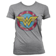 T-shirt Wonder Woman Distressed Logo superhero maglia Donna ufficiale by Hybris