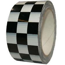 Pvc Cinta adhesiva estampado de cuadros 50mm x 66m Negro Blanco raceflag a tape
