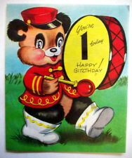 1st Birthday bear drummer vintage greeting card *1B