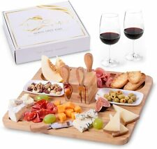 Bamboo Charcuterie & Cheese Board - Cheese Knife Set - Elegant Serving Tray