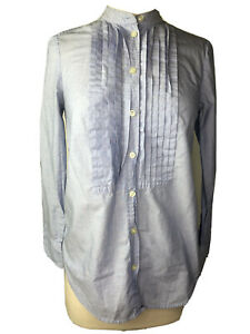 J Crew Petite XS Blue Chambray Cotton Button Up Shirt Top Long Sleeve