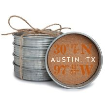 New Texas Longhorns Austin Longitude and Latitude Mason Jar Lid Coasters