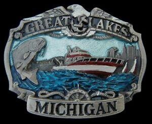 MICHIGAN GREAT LAKES SCENE BELT BUCKLE NICE COLORS VINTAGE 1984
