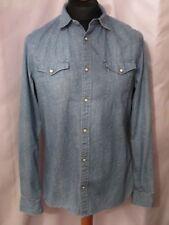 Men's (ALLSAINTS) Mescalito L/S shirt blue denim look SZ M slim  fit ex con