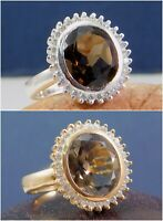 Solid 925 Sterling Silver Jewelry Smoky Quartz CZ Gemstone Rose Gold Plated Ring