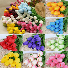 10X Artificial Tulips Flower Latex Real Touch Bridal Wedding Bouquet Home Decor