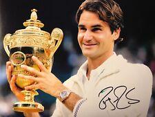 ROGER FEDERER Signed Tennis 8x10 Photo Trophy COA