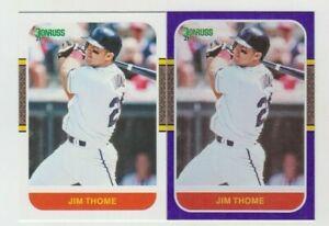 (8) Jim Thome 2021 DONRUSS RETRO 1987 HOLO PURPLE + BASE LOT #216 INDIANS