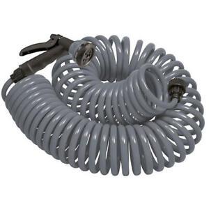 Orbit 25 Ft Gray Coil Garden Hose w/ 8 Spray Pattern Nozzle NEW