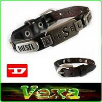 New DIESEL Genuine Leather Bracelet Dark Brown Bangle Wristband Mens Surfer BD15