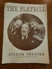 1940 Playbill For The Lyceum Theatre