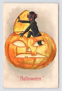 Jack O'Lantern BLACK DEVIL Pumpkin HALLOWEEN Embossed Antique Postcard / GRIGGS