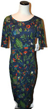 NWT LuLaRoe Navy Blue Floral Print JULIA Scoop Neck Pullover Knit Dress M