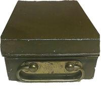 vintage Samson Registered classic green metal bank lock box security safe