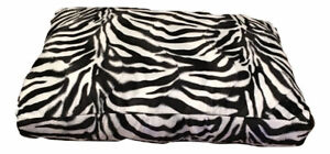 Zebra- black white velboa Dog Bed - Cat Mat - Soft Padded hypo-allergenic Insert