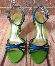 Coach 8 8B Bethanie Green Blue Satin Heels Sandal Ankle Strap Stiletto