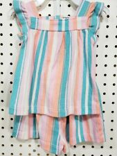 Girls Kids baby Carter's Set Tank Shirt Striped shorts Outfit 6 Months Teal pink