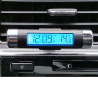 New LCD Clip-on Blue Backlight Digital Automotive Thermometer Car Clock Calendar