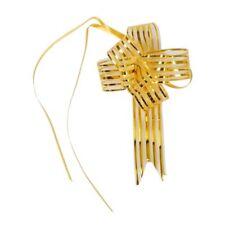 Gift Wrap Glittery Pull Bow Ribbon Gold Tone 10pcs T5A5