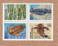 PREHISTORIC AGE of PRIMITIVE LIFE = Canada 1990 #1282a MNH-VF Block of 4 q01