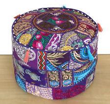 "22"" Round Purple Patchwork Embroidered Pouf Ottoman Moroccan Pouffe Cotton Pouf"