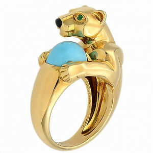 Cartier 18K Yellow Gold Vintage Panthere Turquoise Onyx and Emerald Ring Size 52