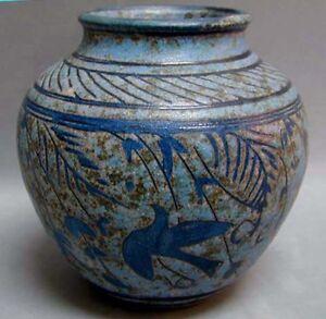 A SIGNED Antique Blue Ceramic Slip VASE WITH BIRDS Art Nouveau Era ?
