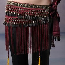 US2 Belly Dance Costume Hip Scarf Tribal Fringe Tassel Belt&Copper Coins BELT L
