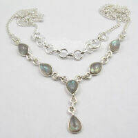 "925 Solid Silver Labradorite Necklace 18.7"" Friendship Day Sale Jewelry"