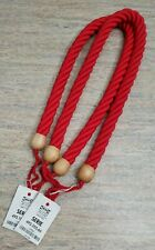 Thick Rope Wood Curtain Tiebacks Chunky Tieback Nautical Tieback Red Set of 2