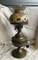 Vintage Brass Lamp floral Glass Shade Electric