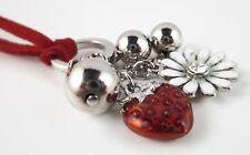 £30 Silver Red Strawberry Flower Pendant Necklace Swarovski Elements Crystal