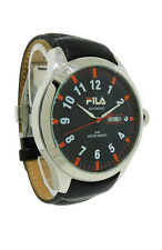 Fila FA0796.06 Men's Round Black Carbon Automatic Day Date Leather Watch
